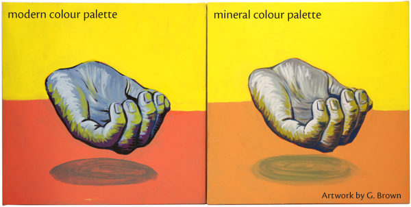 Two paintings, on created using a modern palette, the other using a palette of mineral colours.