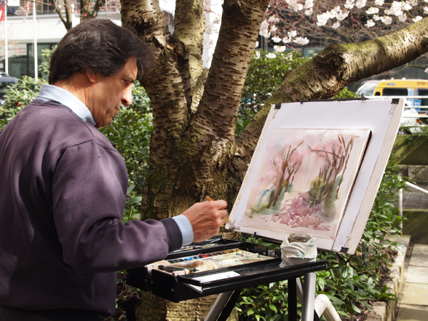 Alfonso Tejada, Plein Air Master, at the Vancouver Cherry Blossom Festival