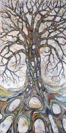 Gnarly Trees in Encaustic