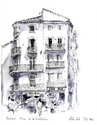 Beziers, Pen and Wash Sketch