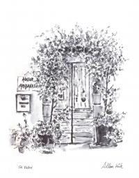 Door, Pen and Wash Sketch