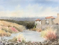 Lagrasse in January, Watercolour