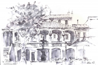 Place de Verdun, Pen and Wash Sketch