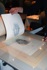 Pulling a print on the Gallery's Takach Etching Press