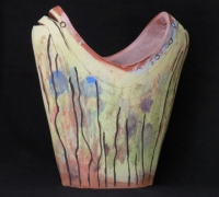 earthenware with slips - multi-fire piece.