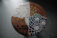 glass tile mosaic on concrete