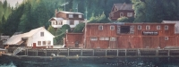 Watercolour of the buildings at the end of the Boardwalk at Telegraph Cove, BC
