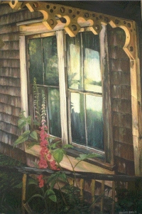 Acrylic painting of a window of the building at Ronning's Garden, Trail to San Josef Bay, Vancouver Island, BC