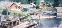 Watercolour of the Boardwalk and Building s at Winter Harbour, Vancover Island, BC