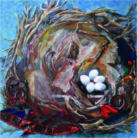 Painting inspired by photograph of finch nest in Sharon Beals' book