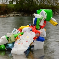 6' floatable bird made from 100 recycled jugs