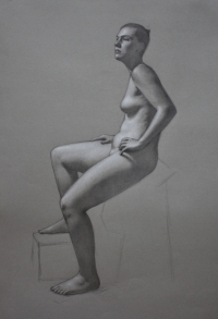 Figure class demo drawing, pencils and white chalk on gray paper