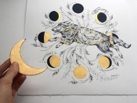 pen + ink, gold gouache, celebrating the majestic wolf and the moon cycles
