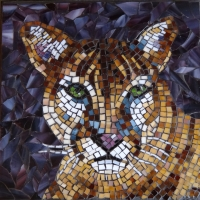 Stained glass mosaic - Cougar
