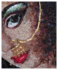 Smalti mosaic portrait - Indian Bride
