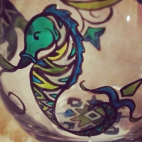 Seahorse on stemless wineglass