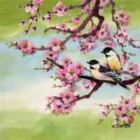 Chickadees with Cherry Blossoms