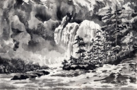 Chatterbox Falls, Princess Louise Inlet (Ink on Ricepaper)