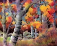 Birch Trees in Fall ( Watercolour on Ricepaper)