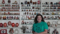 Pysanky expert, artist, author, instructor and lecturer Joan Brander in her Gallery