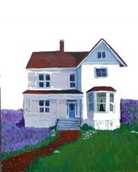 Houses locally have become unattainable for most, so I paint them in fantasy settings as they are fantasy for so many