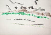 Pencil crayon on paper, 12x9 in, 2010 River Lewis Okanagan artist drawing