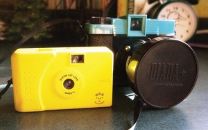 Carol's film cameras, including her Yellow Peace Wide Lens Camera.