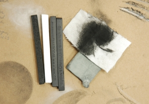 Charcoal and kneaded eraser
