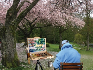 Plein Air at the Vancouver Cherry Blossom Festival