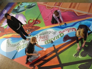 Students working on Britannia Mural
