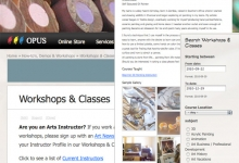 New Workshops and Classes Section