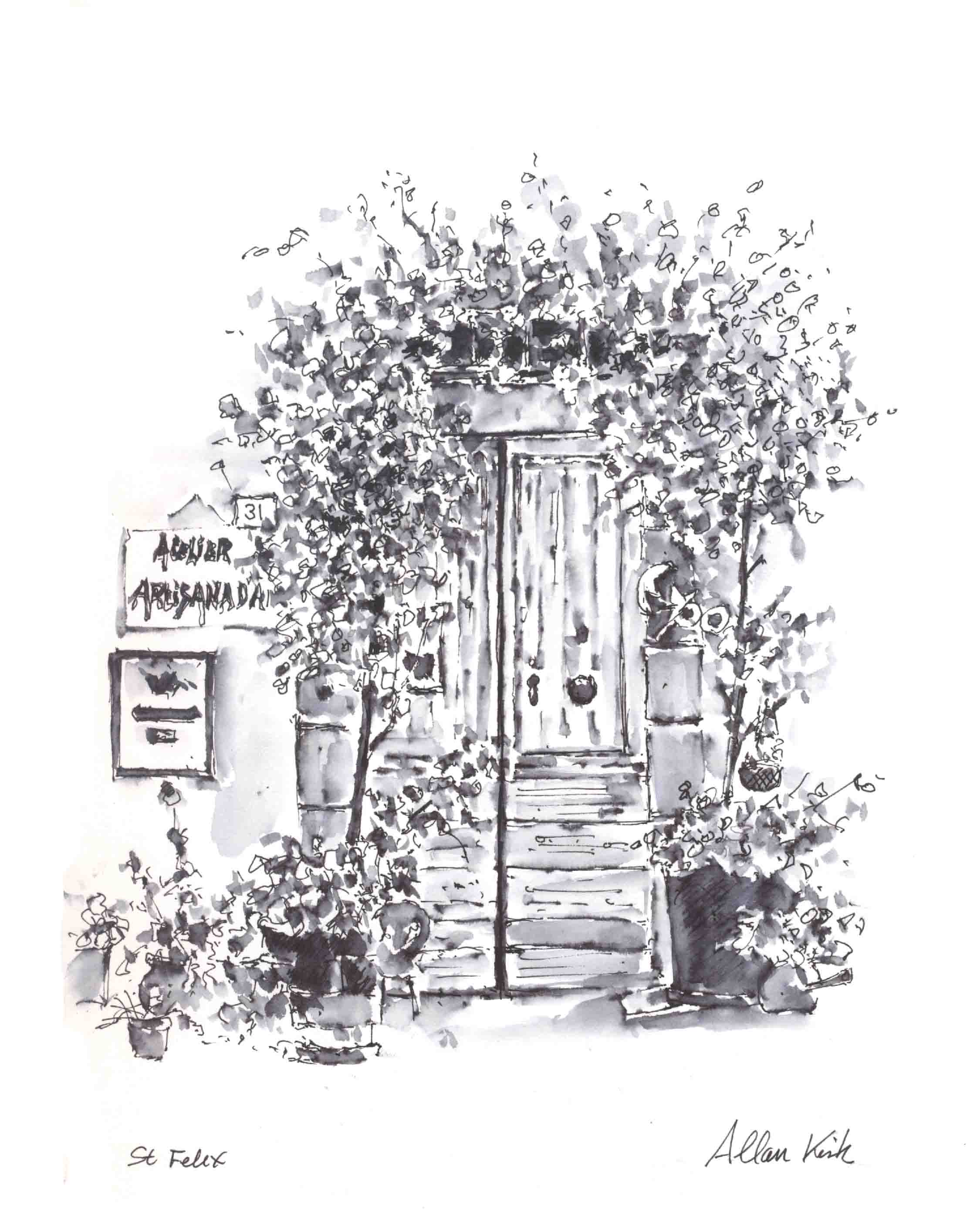 Door pencil drawing - Door Pen And Wash Sketch