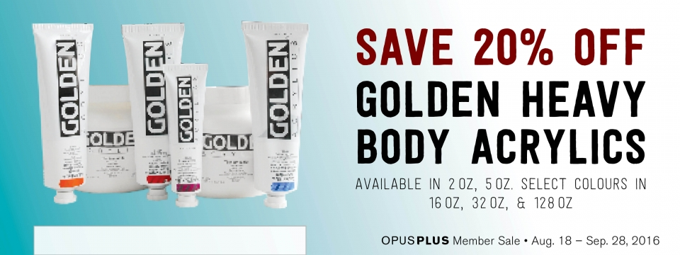 Save 20% off GOLDEN HB Acrylics