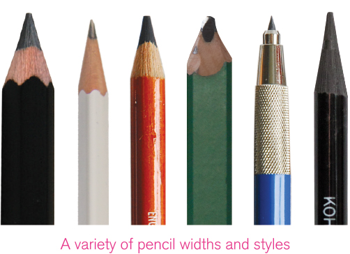 A variety of pencil widths and styles available.