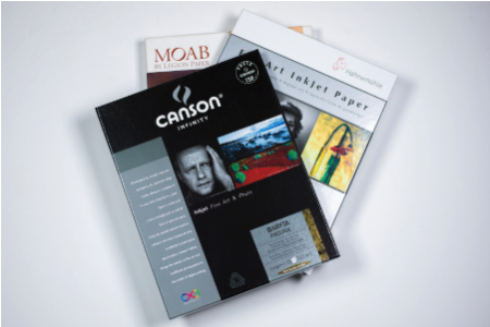 With dozens of premium papers from Canson, Hahnemühle, and MOAB to choose from, including high-gloss photo papers, watercolour papers, printmaking papers and even metallic pearl, there is something to suit every type of image.